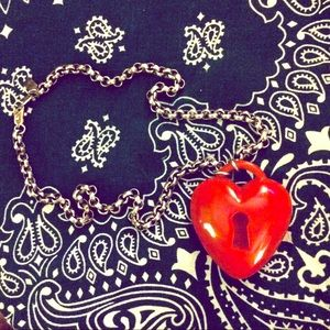Key to my Heart Retrolite Necklace-Red